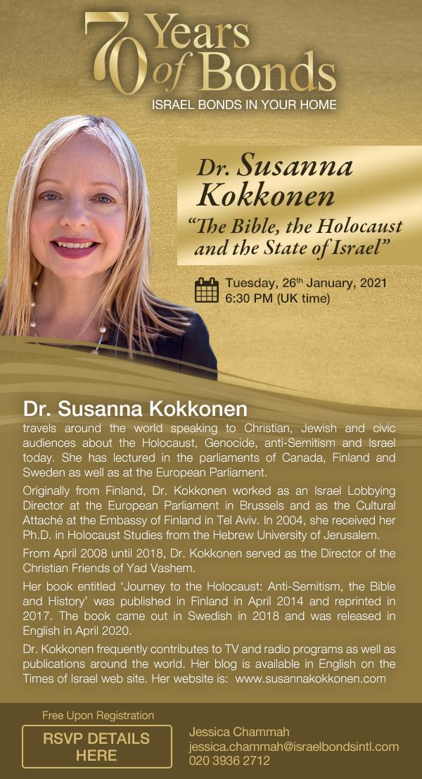Israel Bonds 70th Series - Dr. Susanna Kokkonen - 26 January 2021