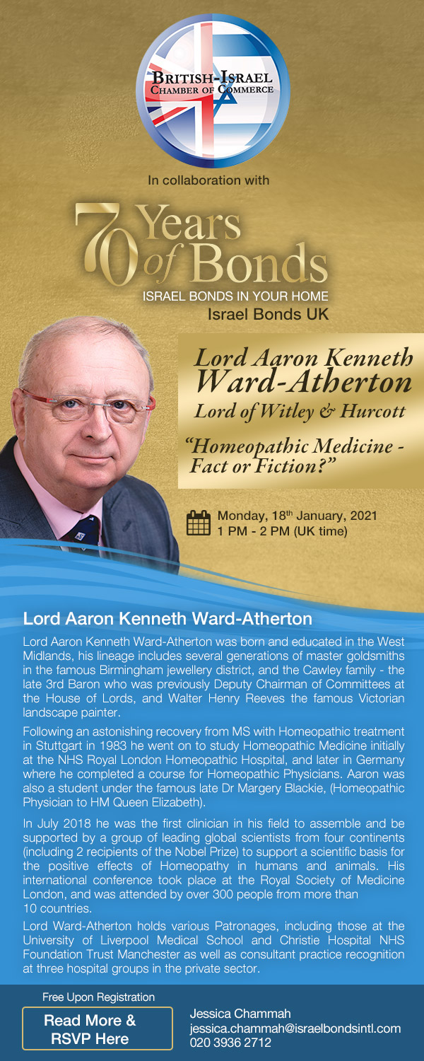 Israel Bonds 70th Series - Aaron Kenneth Ward-Atherton - 18 January 2021