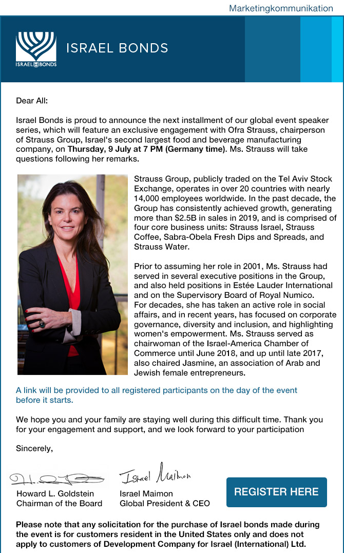 Our Upcoming Global Event: Ofra Strauss, chairperson of Strauss Group -Thursday, 9 July at 7 PM (Germany time)