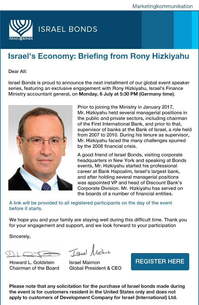 Our Upcoming Global Event: Rony Hizkiyahu, Israel's Finance Ministry Accountant General -Monday, 6 July at 5:30 PM (Germany time)