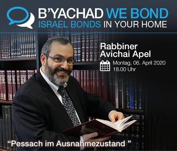 Israel Bonds B'yachad We Bond - Rabbiner Avichai Apel - 6 April 2020